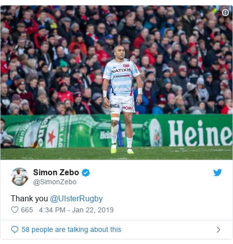 Twitter post by @SimonZebo: Thank you @UlsterRugby